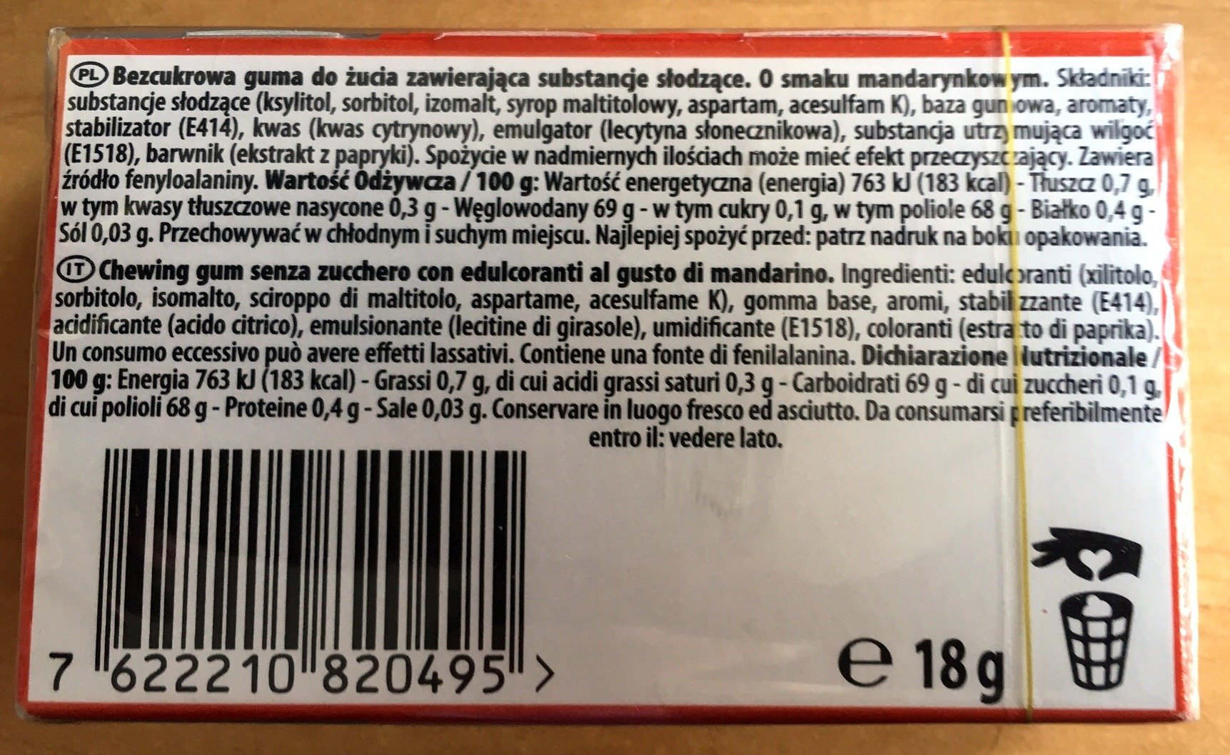 Halls Gum Ice Rush Citrus Flavour Sugar Free 18 g