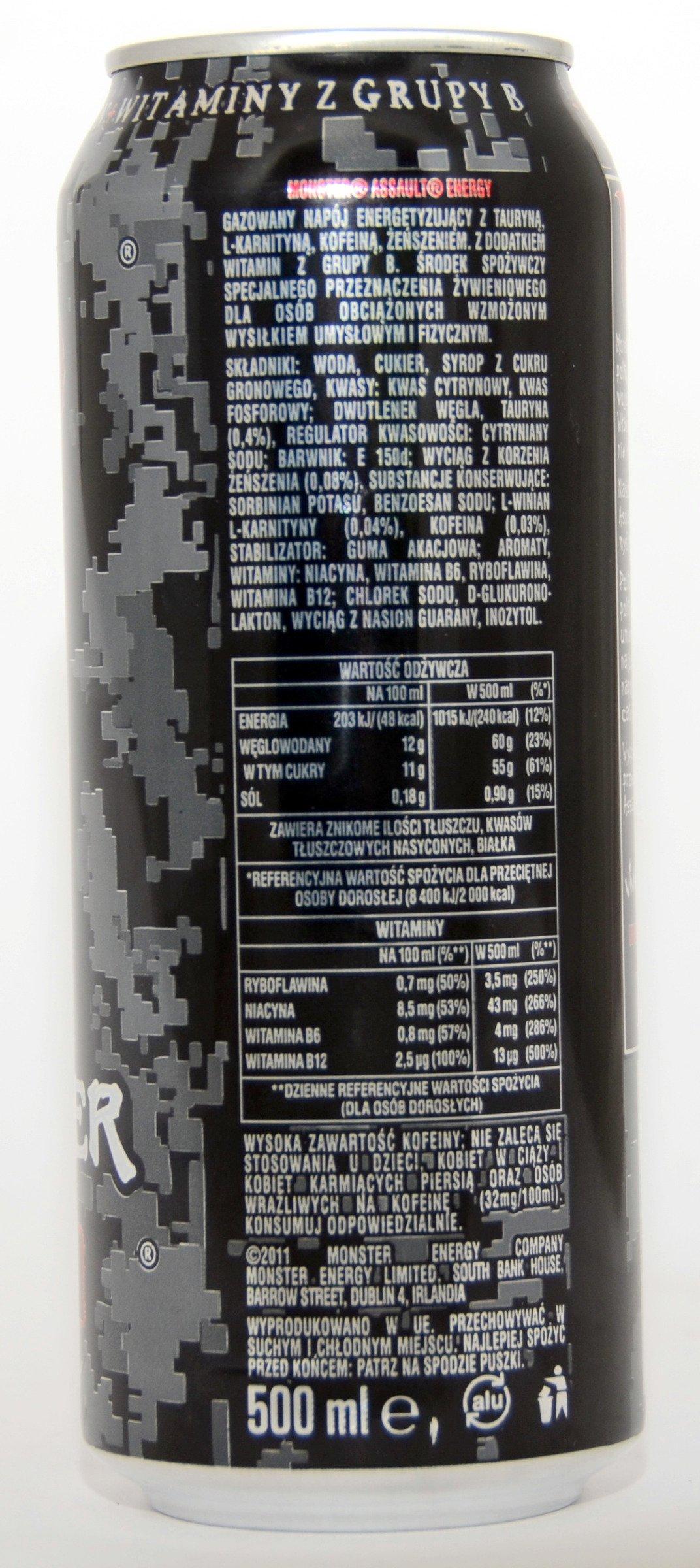 Monster Energy Assault Can 500 Ml Energetic Drinks