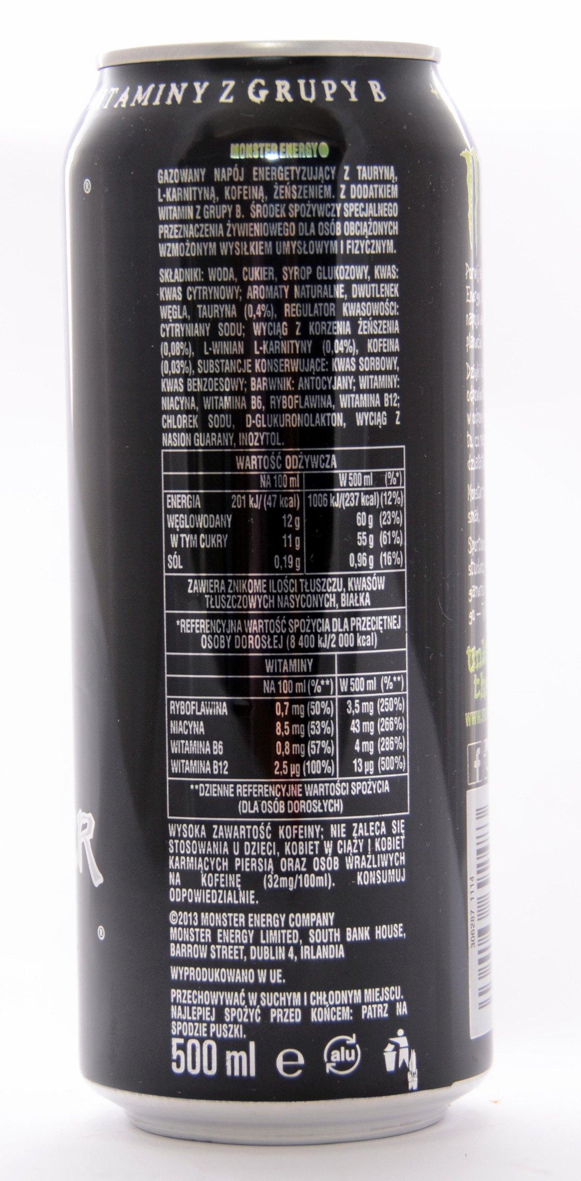 Monster Energy Can 500 Ml Energetic Drinks Monster