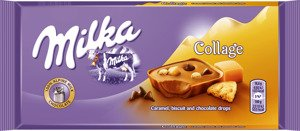 Milka Collage Caramel, biscuit and chocolate drops  93 g