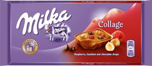 Milka Collage Raspberry,hazelnut and chocolate drops 93 g