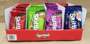 SKITTLES MIX DISPLAY  mix 38g  x 80 bags  Wild Berry x 20 bags , Crazy Sours  x 20 bags , Dark side  x 20 bags , Fruits  x 20 bags